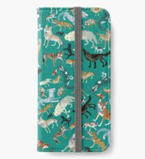 Wolves of the World (Green pattern) iPhone Wallet/Case/Skin