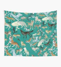Wolves of the World (Green pattern) Tela decorativa