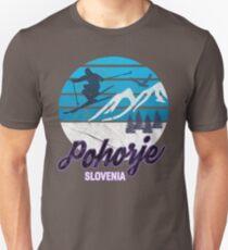 Pohorje Massif Mountains Maribor Mariborsko Slovenia Ski Resort Snowboarding Winter Skiing Wear T-Shirts Hoodies Sweaters and Jumpers Unisex T-Shirt