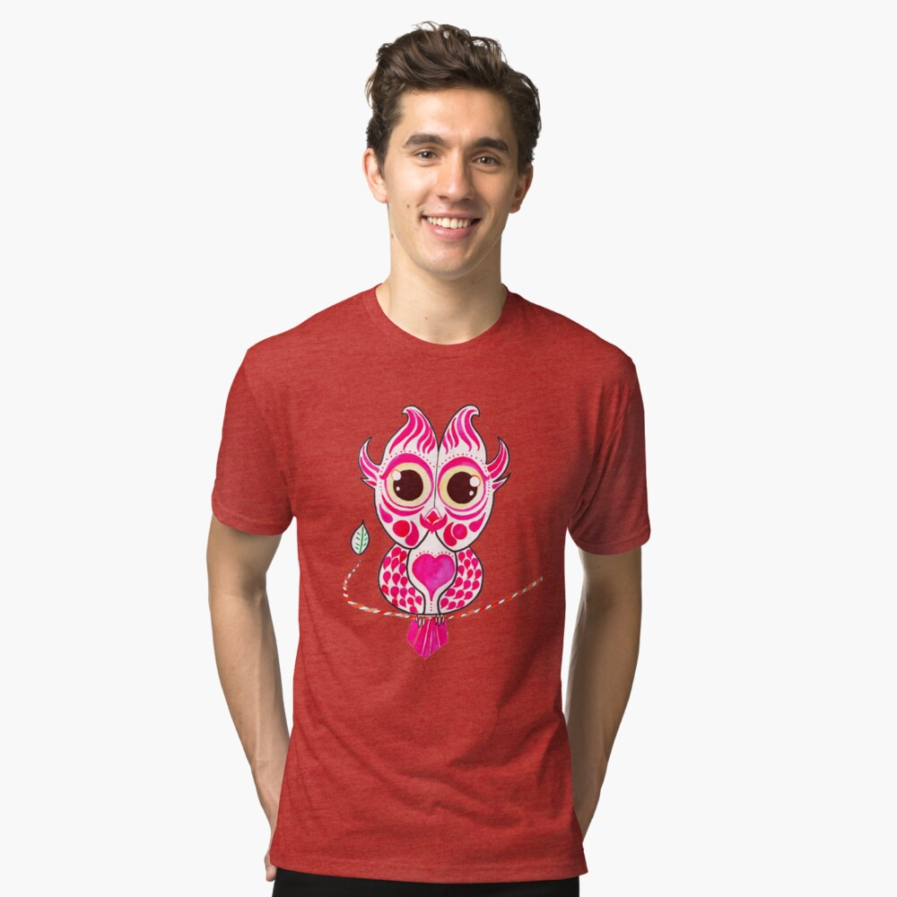 Watercolor Art | Pink Owl Tri-blend T-Shirt Front