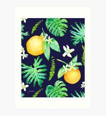 Citrus Tropics - Midnight Art Print