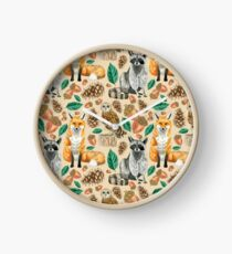 Woodland Creatures Watercolor Pattern Clock