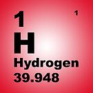 Red Gradient Color Tile Block Hydrogen Periodic Table of Elements by walterericsy