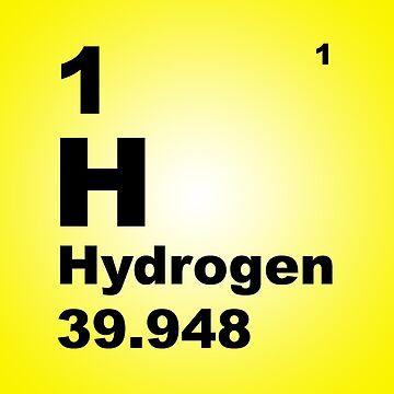 Yellow Gradient Color Tile Block Hydrogen Periodic Table of Elements by walterericsy
