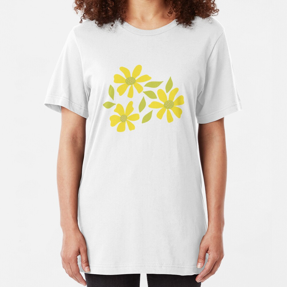 Retro Yellow Flowers Slim Fit T-Shirt