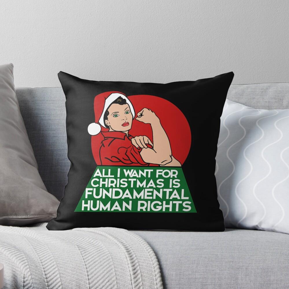 Feminist christmas humor Throw Pillow