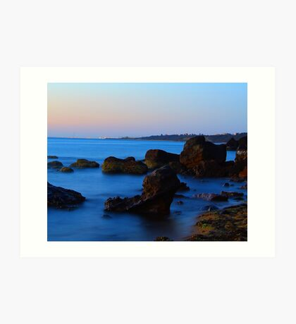 Blue water over the bay. Art Print