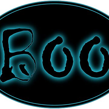 Glowing Blue Halloween Boo Bar Sign by gkillerb