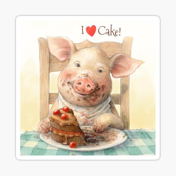 Piggy Loves Choco Cake Sticker