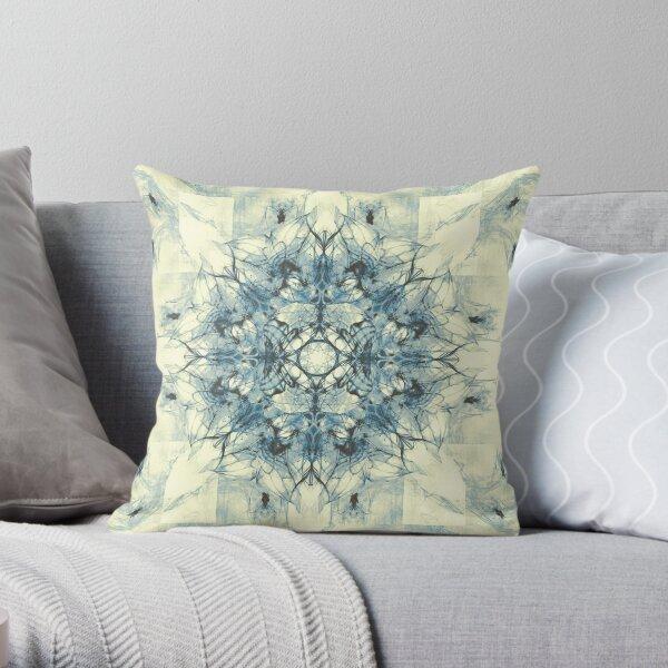 Dragonheart - Cream Blue Throw Pillow