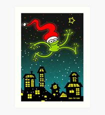 Christmas Frog Jumping out of Joy! Art Print