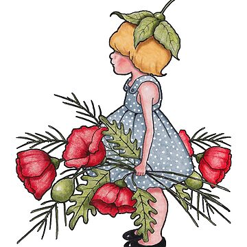 Little Girl with Poppy Flowers, Flower Child, Whimsical Illustration by Joyce