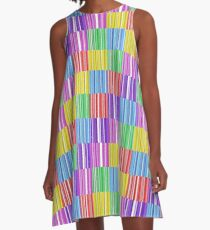 Multicoloured Barcodes A-Line Dress