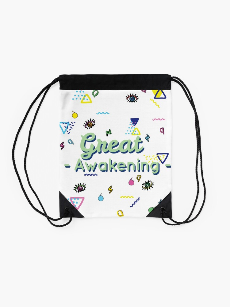 Alternate view of Q And The Great Awakening  Drawstring Bag