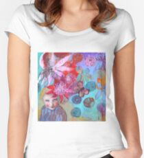 Passion Flowers And Chrysanthemums Fitted Scoop T-Shirt