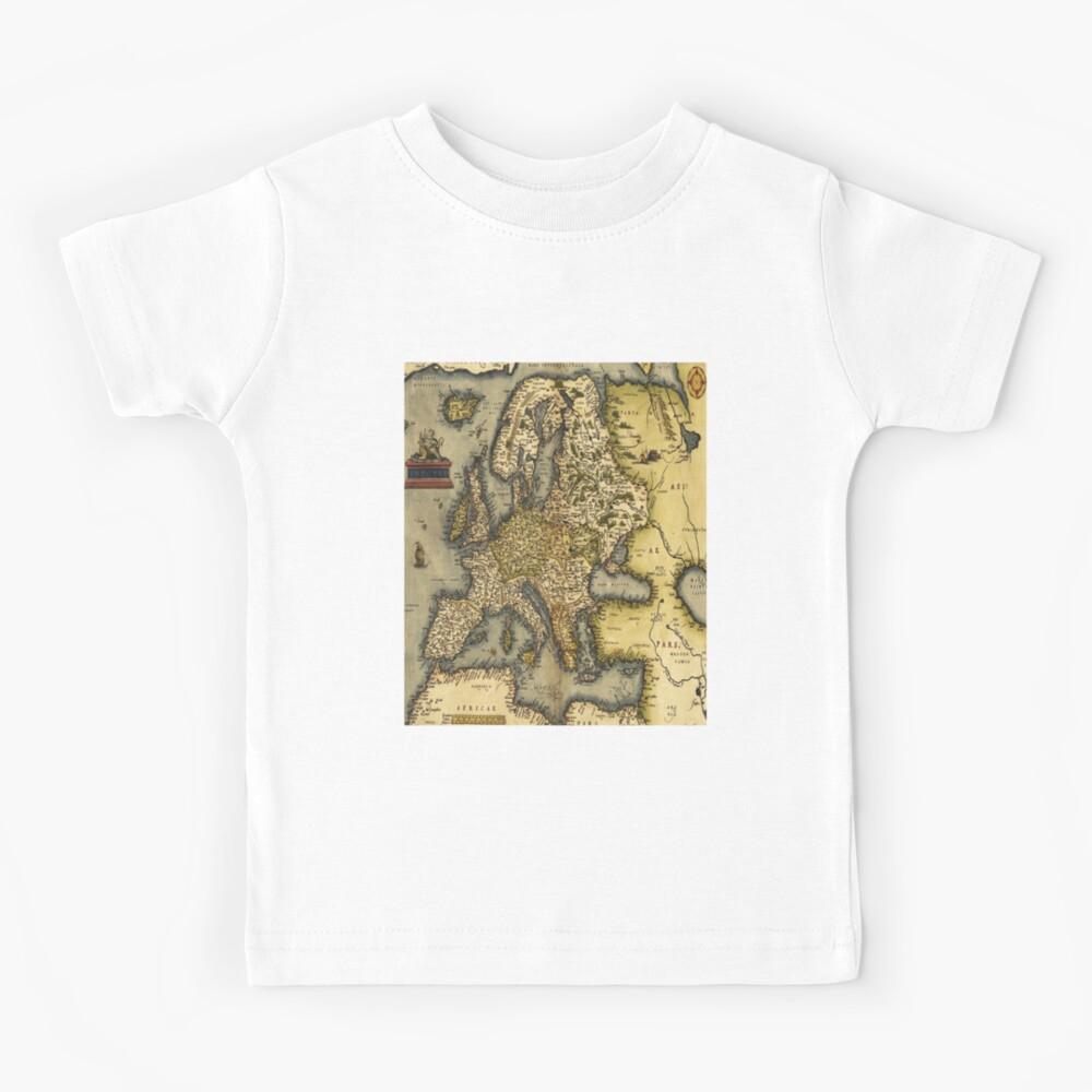 Ortelius Map of Europe 1572 Antique Cartography Exploration Kids T-Shirt