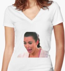 Kim Crying Women's Fitted V-Neck T-Shirt