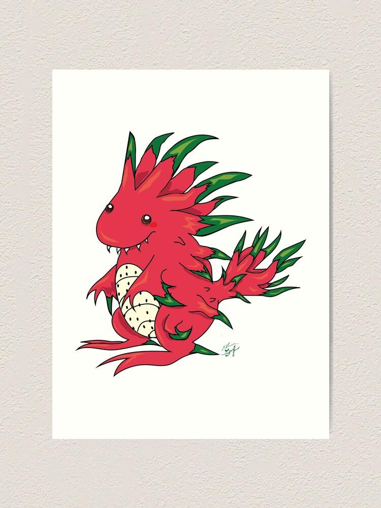Alternate view of Dragon Fruit Dragon-White Art Print