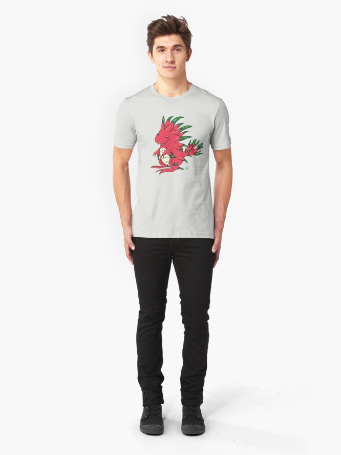 Alternate view of Dragon Fruit Dragon-White Slim Fit T-Shirt