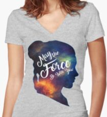 May the Force be With You - Carrie Fisher -Princess Leia Tribute Shirt Women's Fitted V-Neck T-Shirt