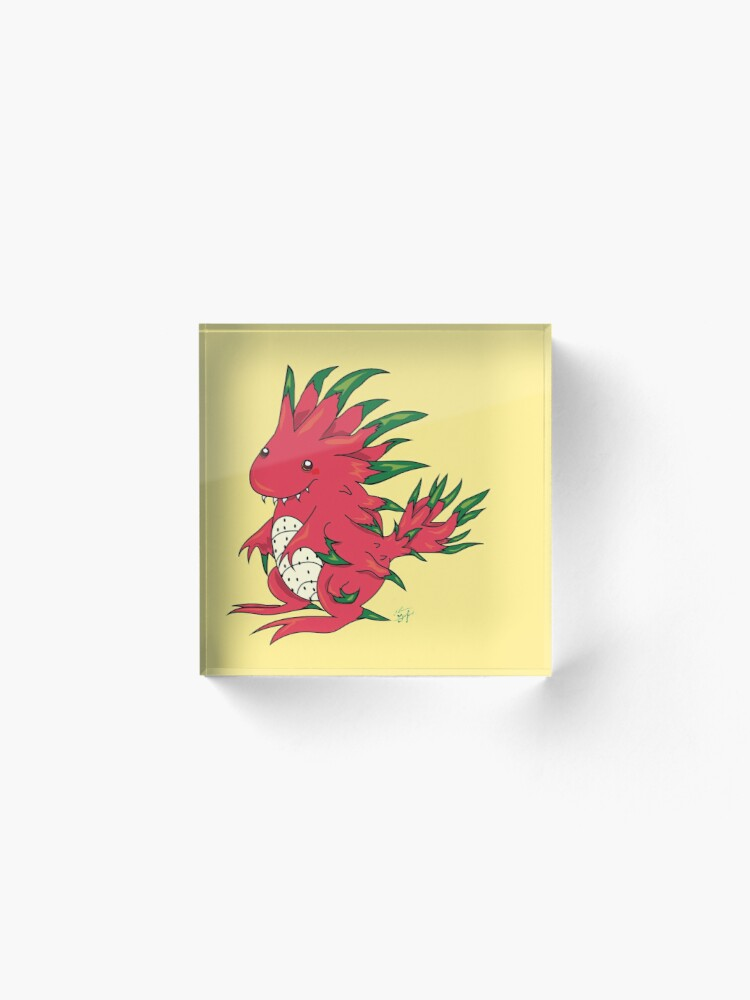 Alternate view of Dragon Fruit Dragon-White Acrylic Block