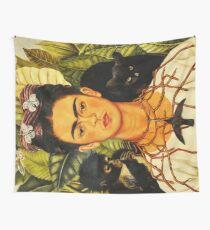 Frida Kahlo Selbstporträt mit Dornkette und Hummingbird Naive Kunstmalerei Wandbehang