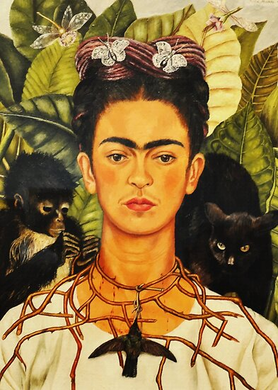 Frida Kahlo Self-Portrait with Thorn Necklace and Hummingbird Naive art Painting by iresist