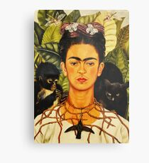 Lámina metálica Autorretrato de Frida Kahlo con collar de espinas y pintura de arte ingenuo de colibrí
