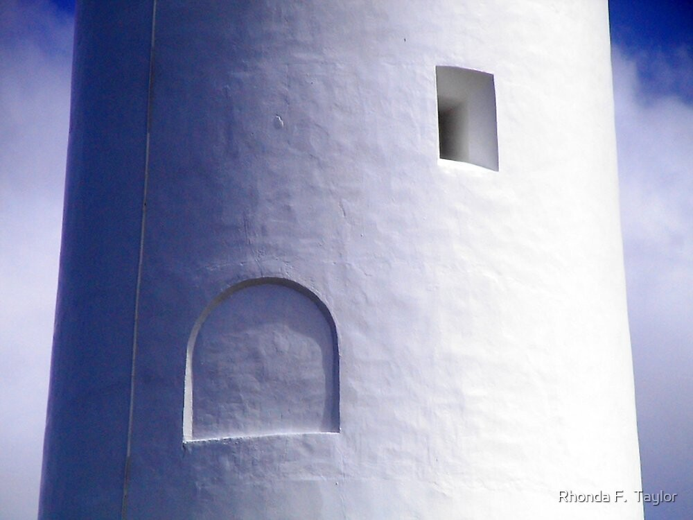 Squares and Arches - close up view of lighthouse by Rhonda F.  Taylor