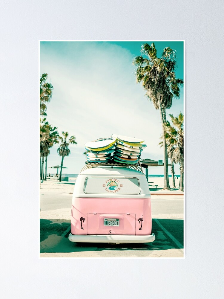 Vista alternativa de Póster Arte rosado de Kombi Van Surf