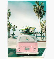 Rosa Kombi Van Surf Kunst Poster