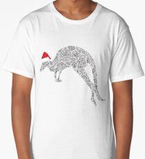Santa Hat Kangaroo Christmas T Shirt Zoo Animal Lover Gift Long T-Shirt