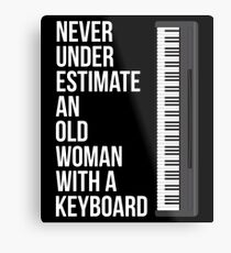 Never Underestimate An Old Woman With A Keyboard T-Shirt Mom Metal Print