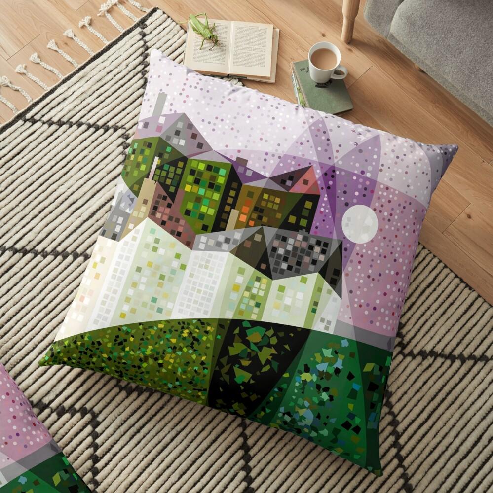 Green Houses on Starry Night Floor Pillow