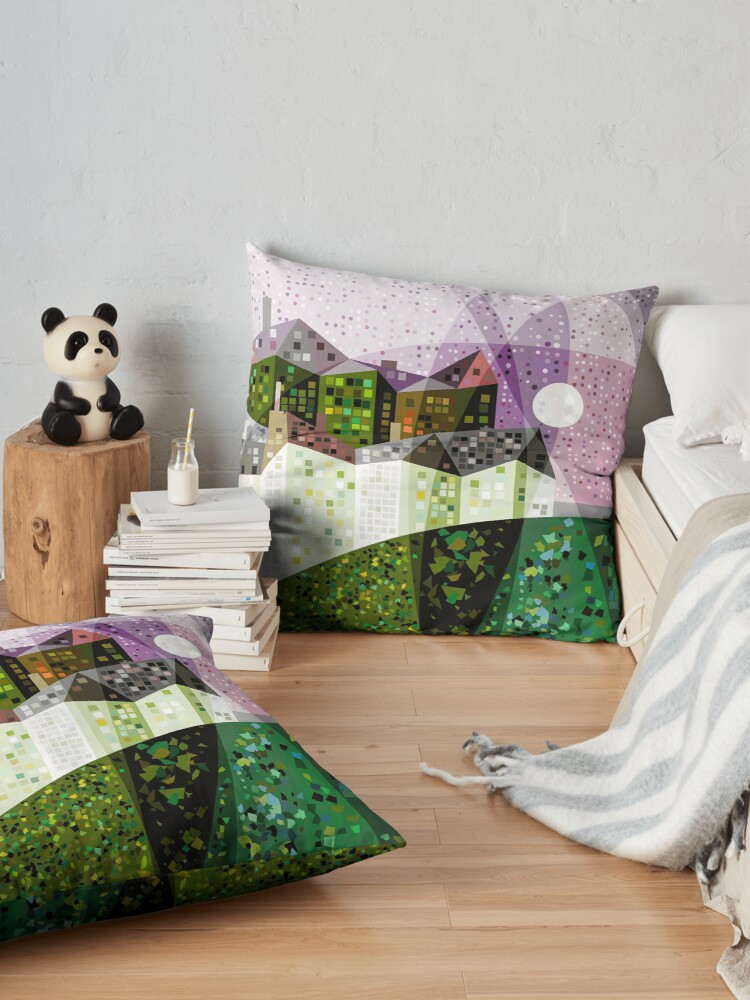 Alternate view of Green Houses on Starry Night Floor Pillow