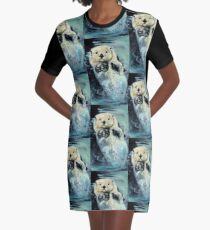 Sea otter painting Graphic T-Shirt Dress