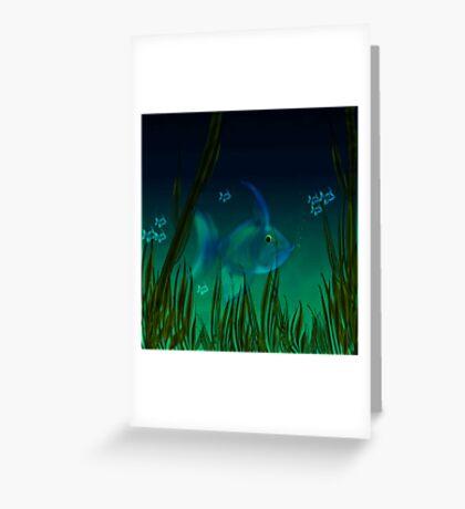 Small blue fish.. Greeting Card
