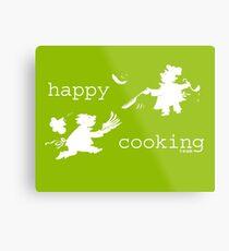happy cooking team  · Tortitas apetitosas de los mejores chefs (blanco) Lienzo metálico