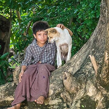 Boy with Dog Myanmar by baji