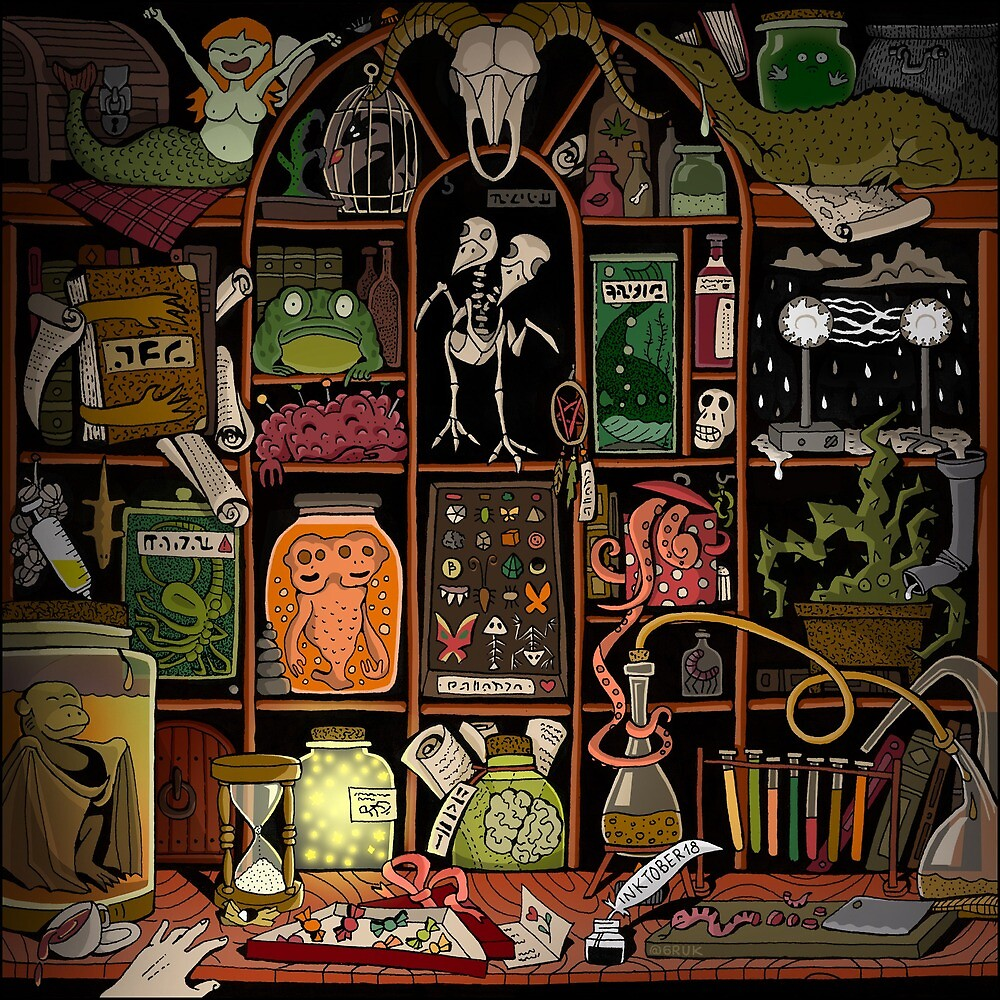 Cabinet of curiosities (color) by 6handsdesign