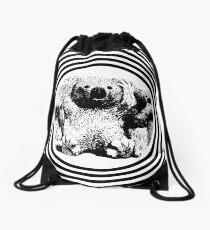 Cool koala retro style black white Drawstring Bag