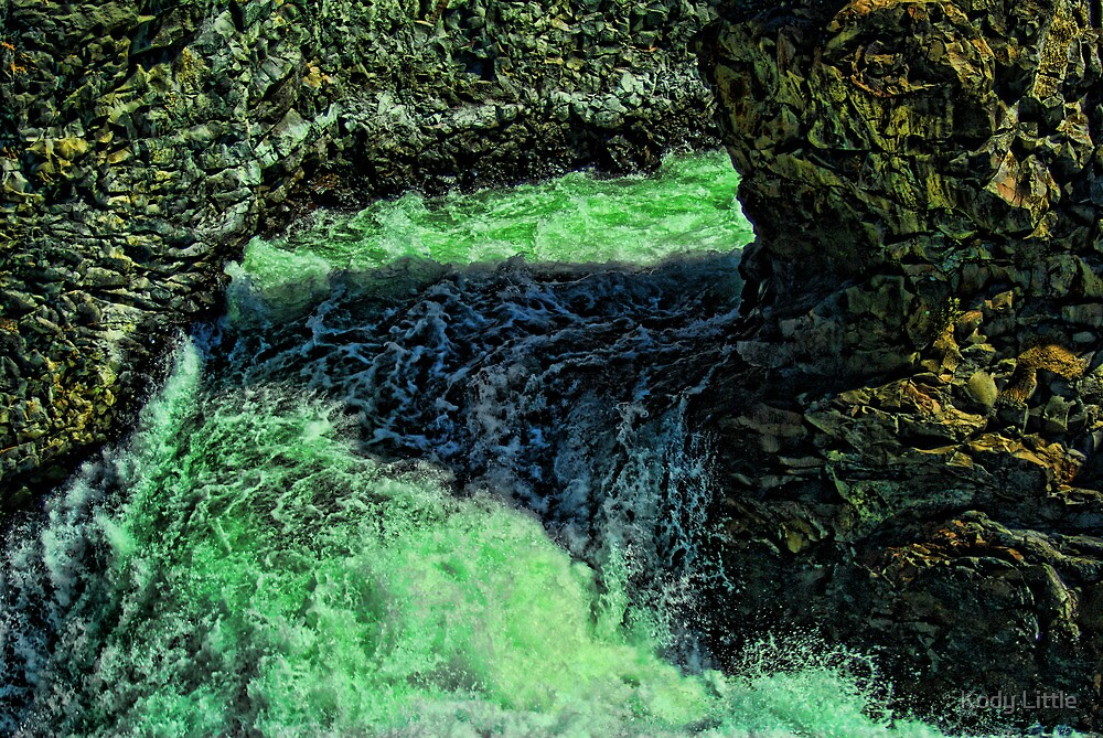 Rock in Falls, Spokane Falls by Kody Little