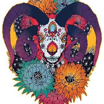 Painted Skull in Flowers by plaguedog