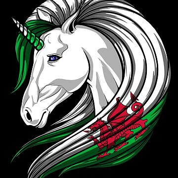 Wales Flag Unicorn Welsh Flag DNA Heritage Roots Gift  by nikolayjs