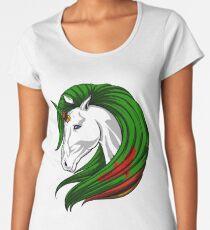 Sambia-Flaggen-Einhorn-Sambian-Flaggen-DNA-Erbe wurzelt Geschenk Premium Rundhals-Shirt