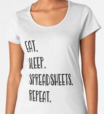 Eat Sleep Tabellenkalkulation Premium Rundhals-Shirt