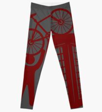 Telephone booth box  with a man and s bike on a roof symbol  Leggings