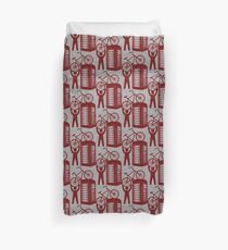 Telephone booth box  with a man and s bike on a roof symbol  Duvet Cover