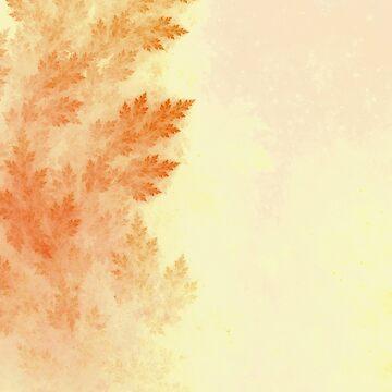 Conifer Pine Trees Ablaze in Autumn Beige Colors by jayaprime