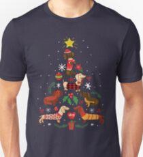 Lustiges Dackel-Weihnachtsbaum-Hemd-Verzierungs-Dekor-Geschenk Slim Fit T-Shirt
